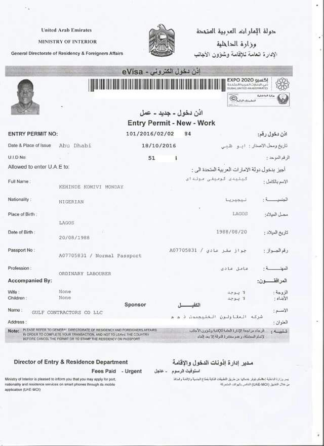 application for a work visa
